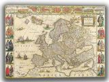 Blaeu, Willem: Map of Europe. Antique/Vintage 17th Century Map. Fine Art Canvas. Sizes: A4/A3/A2/A1 (003869)